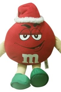 M&M Offically Licensed Red M&M Santa Hat Stuffed Toy Decoration Plush