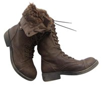 Madden Girl Faux Fur Faux Leather Brown Boots