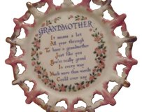 Made in Japan Very pretty glass china collectible decorative plate Grandmother poem pink white gold plated made in Japan