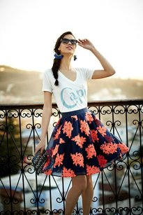 Maeve Embroidered Navy Nwt Ss Skirt