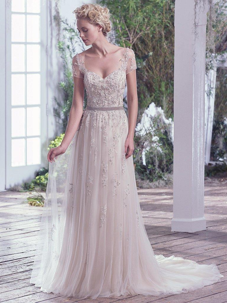 Maggie Sottero Light GoldPewter Accent Beaded Kylie Formal Wedding