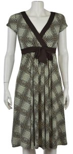 Maggy London Womens Polka Dot Cap Sleeve Below Knee Sheath Dress