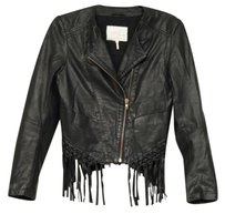 Maje Womens Leather Biker Moto Motorcycle Fringe 364 Black Jacket