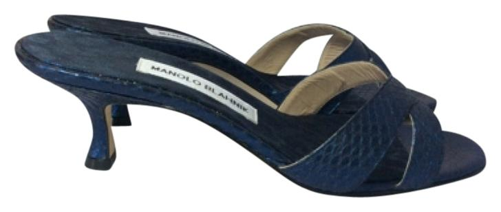 Manolo Blahnik Blue/Black Callamu Sandals Size US 11 Regular (M, B)