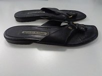 Manolo Blahnik Manolo Leather Casual Thong W Dustbag B2795 Black Sandals