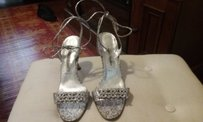 Manolo Blahnik Jaquard Pattern Leather Sole Leather Tie Crystals In Front Made In Italy Silver,black, and gray Formal