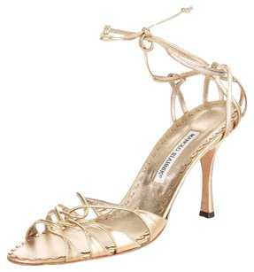Manolo Blahnik Leather Strappy Ankle Tie Gold Sandals