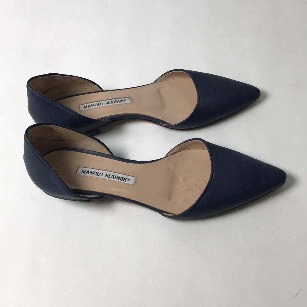 Manolo Blahnik Navy Blue Leather Soussaba D' Orsay Pointed ...
