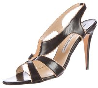 Manolo Blahnik Slim Heel Leather Strappy Open Toe Slingback Black, Tan Sandals