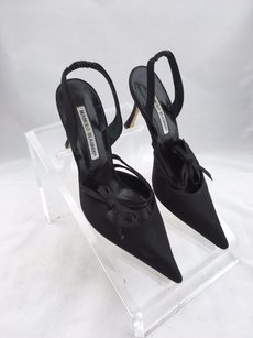 Manolo Blahnik Manolo Fabric Slingback Pointed Black Pumps