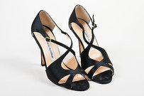 Manolo Blahnik Satin Black Sandals