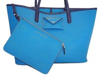 Marc by Marc Jacobs Saffiano Leather Metropolitote With Zip Pouch Tote in Blue