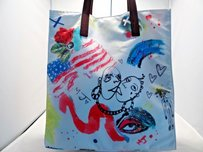Marc Jacobs North South Nylon Doodle Art Print Off White Multi Tote in Multi-Color