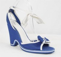 Marc Jacobs Womens Bluewhite High Heel Pump Wedge Ankle Wrap Sandal Multi-Color Platforms