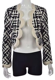 Marc Jacobs Marc Jacobs Womens Ivory Black Blazer Wool Cropped Career Jacket