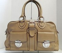 Marc Jacobs Italy Beige Leather Multi Pocket Satchel in Khaki