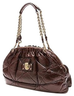 Marc Jacobs Chocolate Brown Leather Patchwork Lou Shoulder Bag