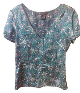 Marc Jacobs Silk Paisley Colorful Peplum Top Blue