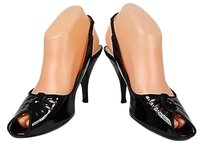 Marc Jacobs Womens Solid Heels Patent Sling Black Pumps
