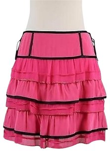 Marc Jacobs Womens Black Solid Above Knee 100 Silk Tiered Skirt Pink