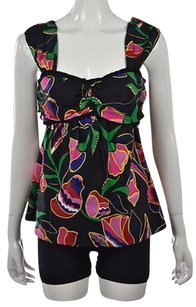 Marc Jacobs Womens Printed Silk Sleeveless Casual Shirt Top Black