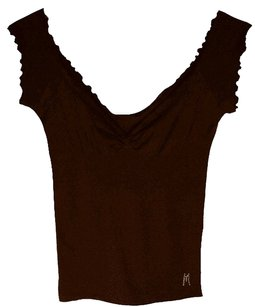 Marciano Signature Embellished Ribbed Top Brown