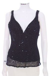 Maria Bianca Nero Sequin V-neck Sleeveless Evening Top Black