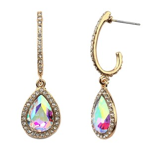 Mariell Pave Arc Earrings With Framed Iridescent Teardrops 4519e-ab-g