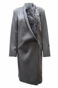 Marina Rinaldi Woolcashmere Lamb Fur Trim Coat 120713mm Grey Jacket