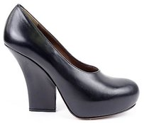 Marni Calf Leather Round Toe Wedge Pumps Eu Black Platforms