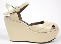 Marni Strappy Ankle Strap Wedge Pumps Heels Off-White Platforms