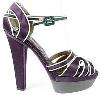 Marni Green Satin Purple Platforms