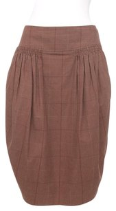 Marni Plaid Check Pleated Tie Back Knee Length Bubble 642 Skirt Brown