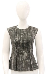 Marni Cotton Abstract Peplum Flattering Printed Print Sleeveless Summer Top Grey, Cream
