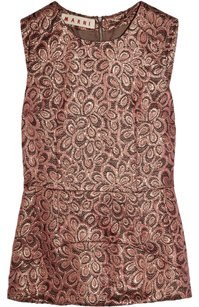 Marni Cotton Silk Peplum Embroidered Feminine Top Rose, Coral