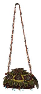 Mary Frances Womens Beaded Handbag Baguette