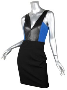 Mason Womens Knit Leather Trim Sleeveless Sheath Dress
