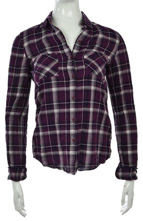 109b394be00cce well-wreapped Massimo Dutti Womens Purple Black Button Down Plaid Shirt Top  Blouse