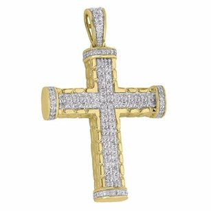 Master Of Bling 10k Gold Cross Pendant Genuine Diamonds Pave Set 2.1 Inch Round Cut High End