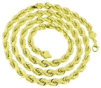 10k Yellow Gold Necklace Inch Solid Rope Link Chain Mens Designer High End