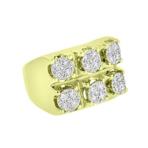 14k Gold Ring Mens Solitaire Cluster Set Diamonds 1.58 Carat High End