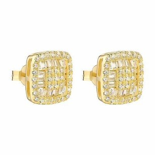 Gold Tone Womens Earrings Simulated Diamonds Sterling 925 Silver Elegant On Sale