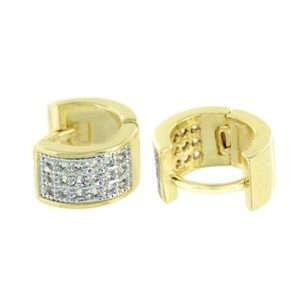 Master Of Bling Hoop Huggie Earrings 14k Gold Finish Simulated Diamonds Pierce Pave Set Mm