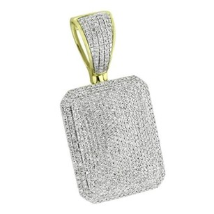 Master Of Bling Iced Out Dog Tag Pendant 10k Yellow Gold Genuine Diamonds Mens Womens Custom