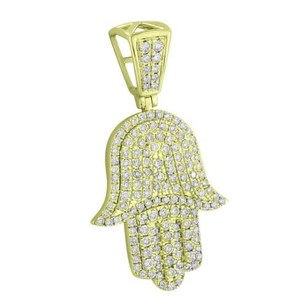 Master Of Bling Iced Out Hamsa Hand Pendant 14k Yellow Gold Genuine Diamonds Evil Eye Protection