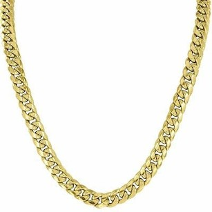 Master Of Bling Inch Miami Cuban Necklace Real 10k Yellow Gold Cuban Link Chain Party Wear