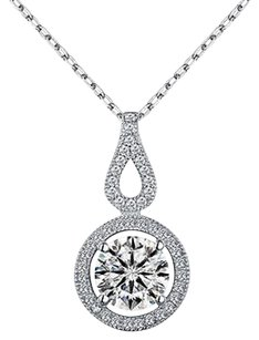 Infinity Tear Drop Design Pendant Sterling Silver Simulated Diamonds Necklace