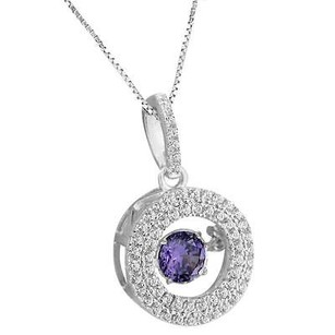 Master Of Bling Ladies Halo Design Pendant Charm Sterling Silver Purple Solitaire Stone Neckalce