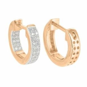 Master Of Bling Rose Gold Tone Hoop Earrings Simulated Diamonds Pave Set Sterling Silver Classy