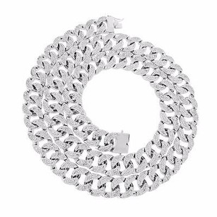 Master Of Bling Miami Cuban Necklace Mens Iced Out Zircon Stones Chain Mm Thick Inch White